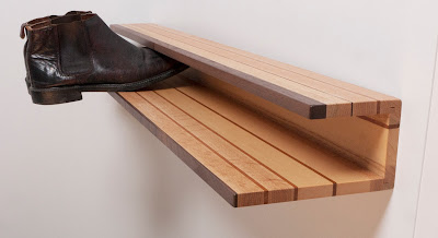 wall-mounted shoe rack, wood