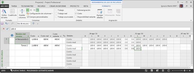 Recurso Tipo Costo - Imagen 2 - Microsoft Project