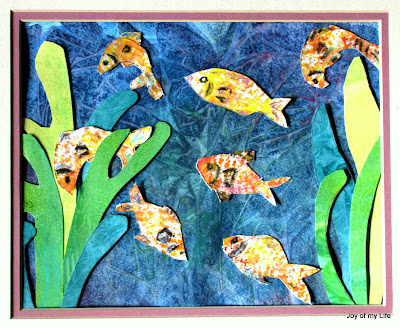 kids art net painted pond fish cut paper collage