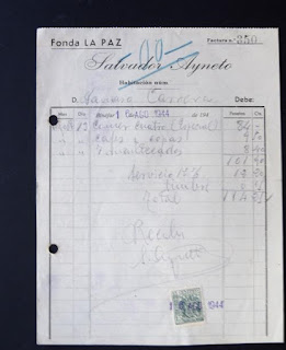 Factura de Fonda La Paz del 16 de agosto de 1944
