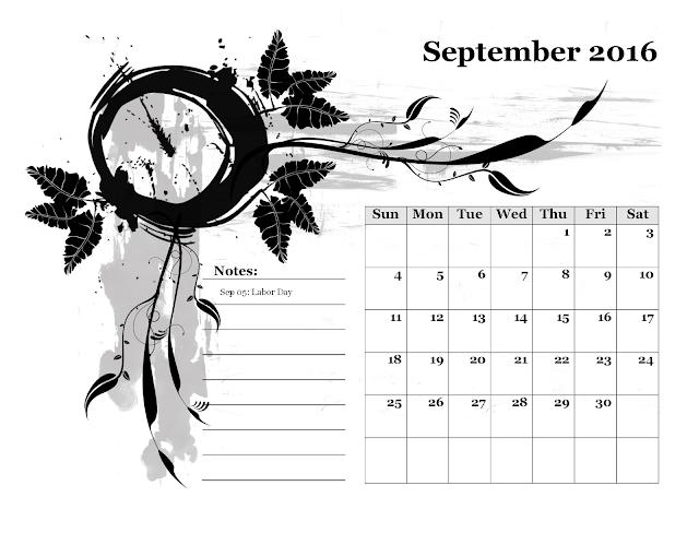Calendario mensile - Settembre 2016