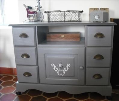Cours peinture d corative meubles peints patin s meuble - Peindre meuble en gris ...