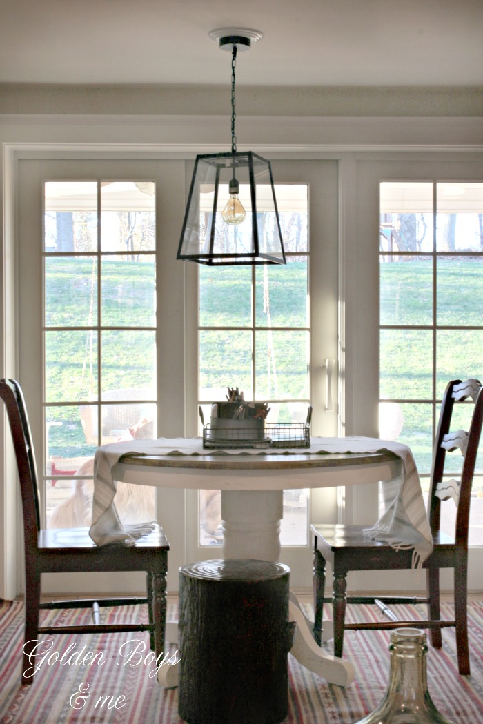 orld Market 4 sided glass pendant lantern in family room - www.goldenboysandme.com