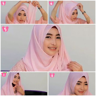 tutorial jilbab pashmina untuk wajah bulat
