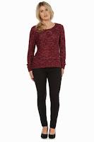 Bluza tricotata, de culoare grena, cu paiete ( )