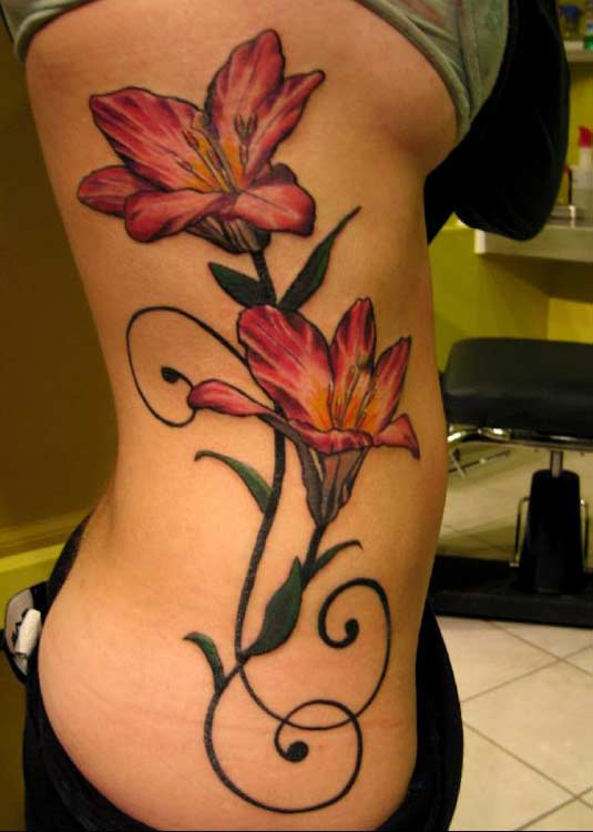 black and white flower tattoos. lack and white flower tattoos