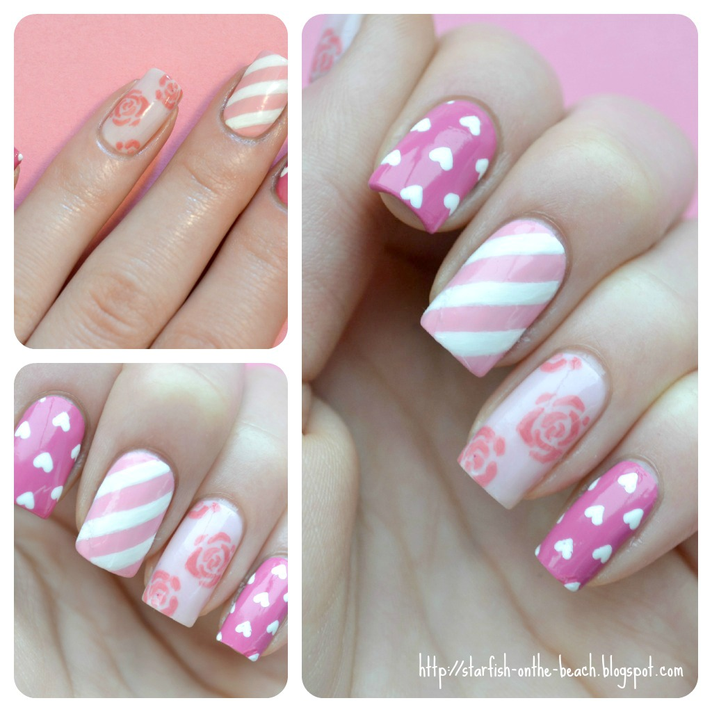 Starfish on the beach vintage valentines day inspired nails i painted a vintage inspired nail design i really liked the design and i got great feedback on it so for a valentines manicure i decided to do a prinsesfo Gallery