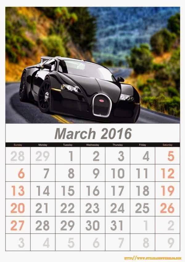 calendario de autos mes por mes para el año 2016 listos para imprimir