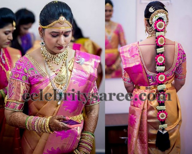 Bride in Golden Yellow Pink Saree