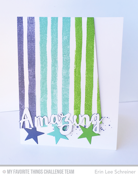 Amazing Stripes Card by Erin Lee Schreiner featuring the Watercolor Stripes Background stamp and the Doubly Amazing Die-namics #mftstamps