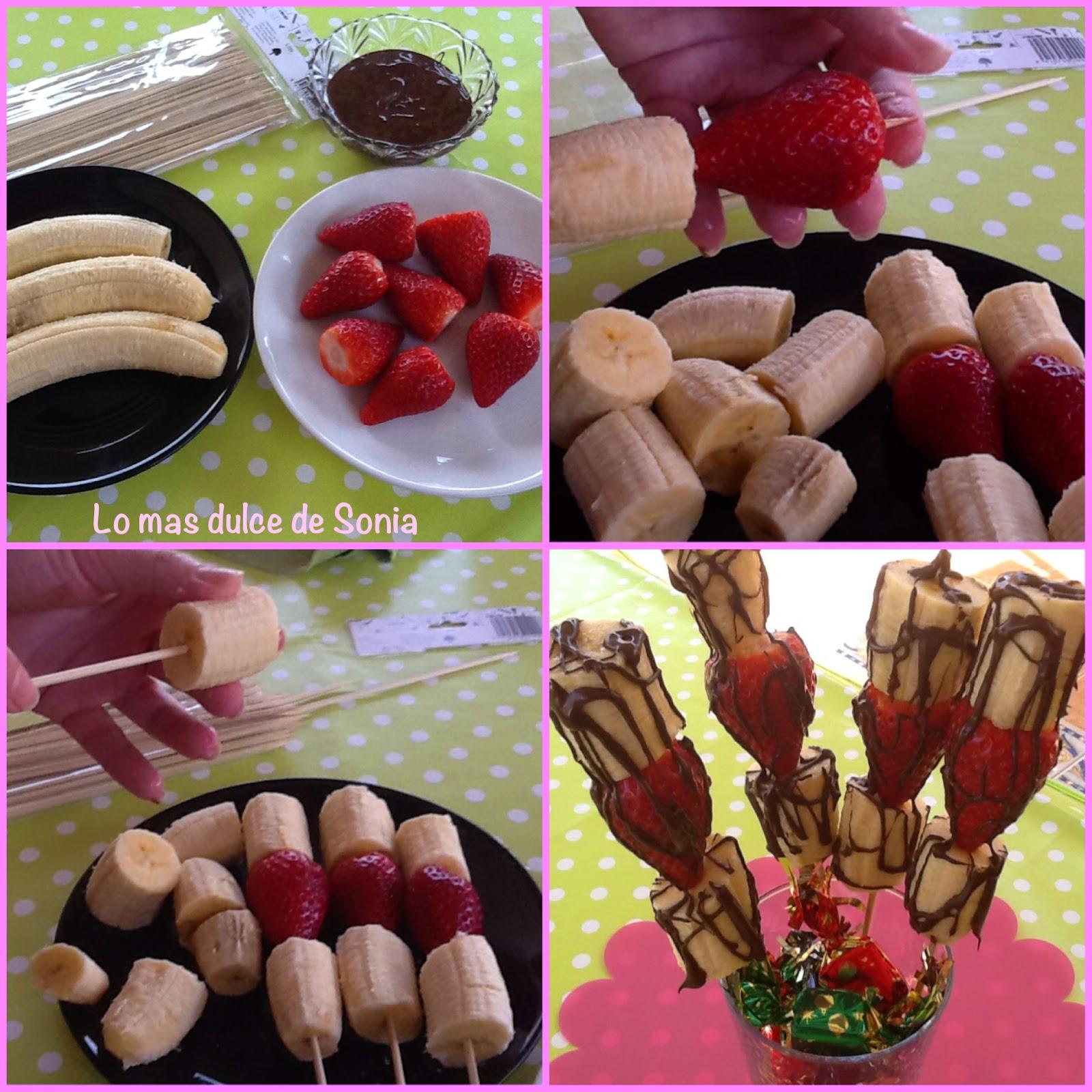 Brochetas de platano, fresas y chocolate