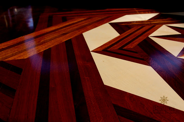 Wood Floor Medallion Inlay - Close view