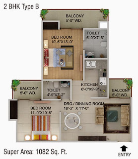 Cape Town :: Floor Plans,2 BHK Type B Super Area - 1082 Sq Ft