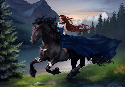 Hermosa mujer sobre su caballo negro - Girl and black horse