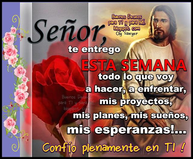 Señor, te entrego ESTA SEMANA todo lo que voy a hacer, a enfrentar.... mis proyectos, mis planes, mis sueños, mis esperanzas!...  CONFÍO PLENAMENTE EN TI !