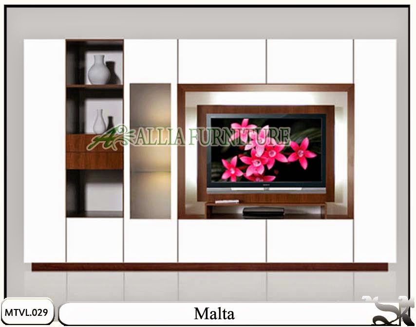 Lemari minimalis tv lcd model pajangan Malta