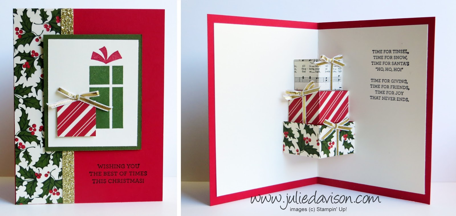 Julies stamping spot stampin up project ideas by julie davison video printable christmas pop up presents card tutorial m4hsunfo