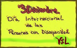 Dibujo con el fondo verde-amarillo con las letras en granate. 3 Diciembre Día Int. de las PCD. VSL
