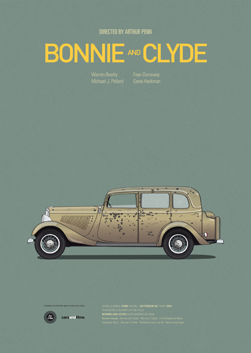 Carros famosos do cinema em posters minimalistas - Jesús Prudencio - Bonnie and Clyde
