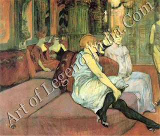 "The Great Artist Henri de Toulouse-Lautrec ""The Salon at the Rue Due Moulins"" 1894   43¾"" x 52"" Musee Toulouse-Lautrec, Albi"