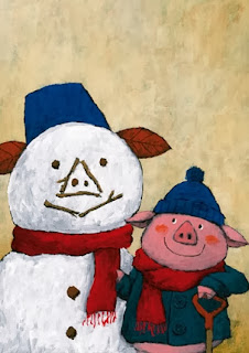 illustration by Yusuke Yonezu of a pig building a snowman