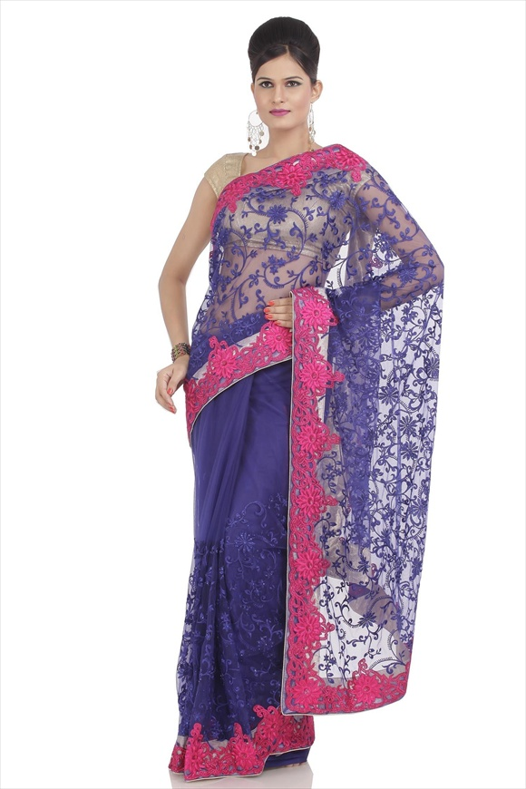 leatest True Blue Net Saree