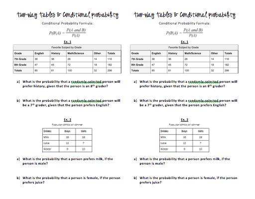 Two Way Frequency Tables Worksheet - Davezan