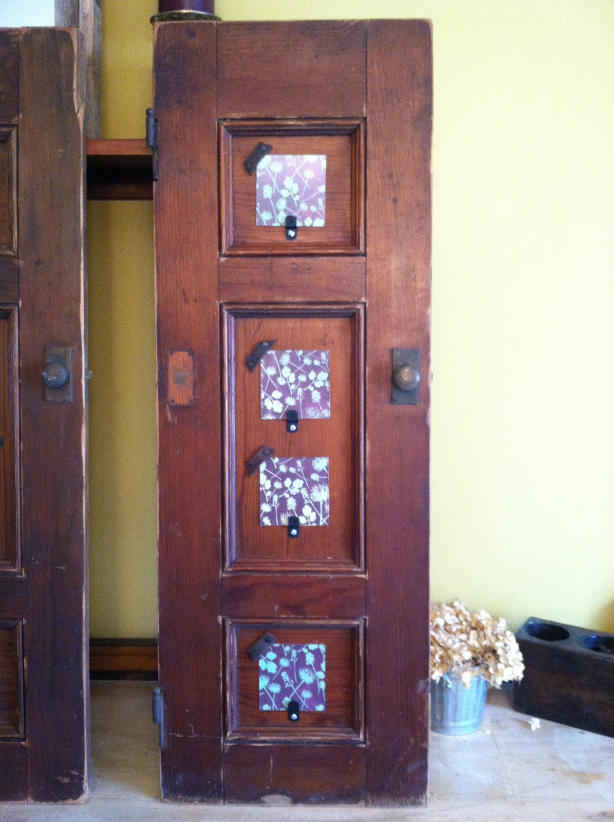 Tx girl 39 n ct antique cabinet doors repurposed into - Cabinet made from old doors ...