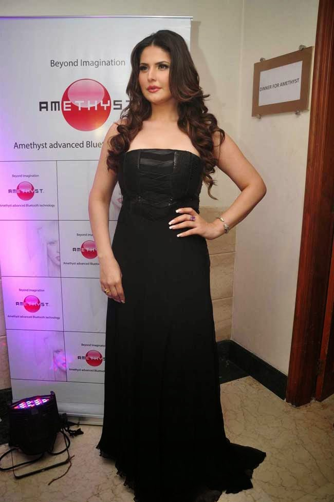Actress Zarine Khan In Black Strapless Gown