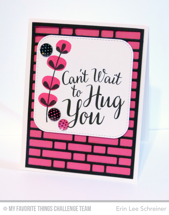 Bold Hug You Card by Erin Lee Schreiner featuring the True Friends and Fall Florals stamp set and the Brick Wall Cover-Up Die-namics #mftstamps