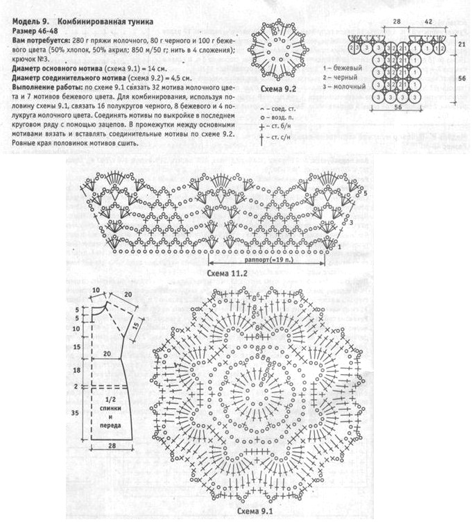 Схемы комбинированного вязания крючком 612