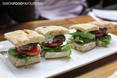 Mini burger of Greek Lamb Burger with fetta & olives, tomato, lettuce ...