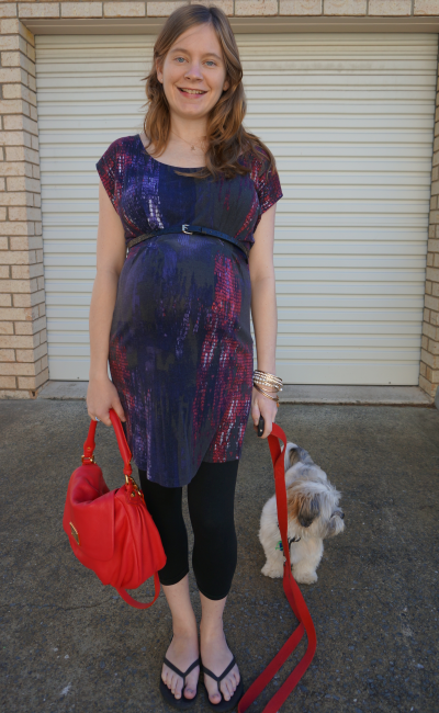 jeanswest belted pixel print jersey dress with leggings third trimester 37 weeks pregnant