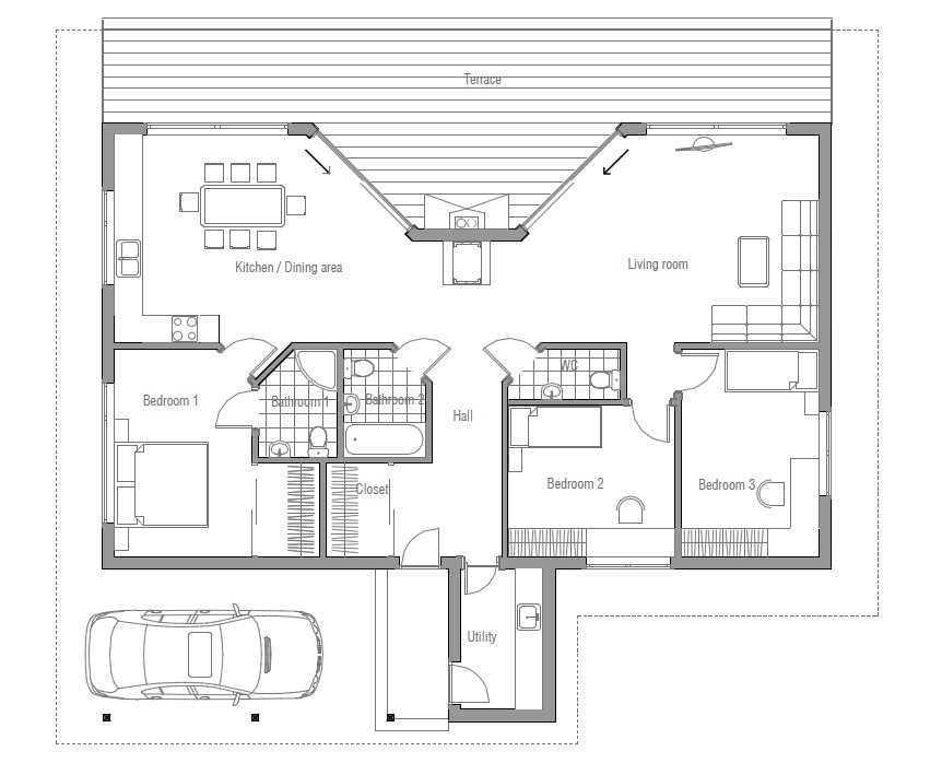 Affordable home plans affordable modern house plan ch61 for Affordable home floor plans