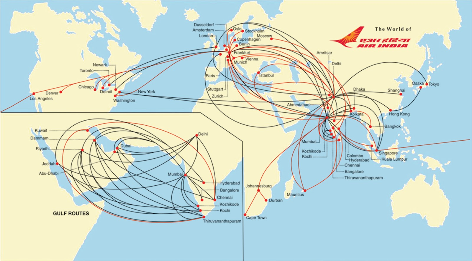 The Timetablist Air India International Routes c 2012