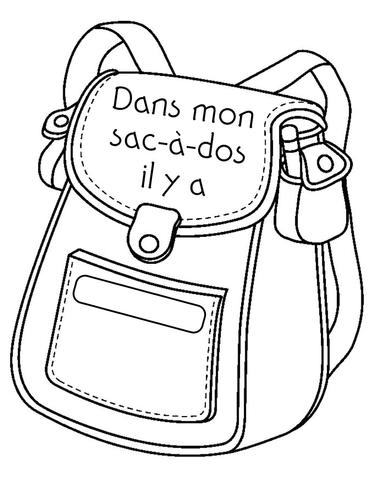 Madame belle feuille dans mon sac dos - Dessin d un cartable ...