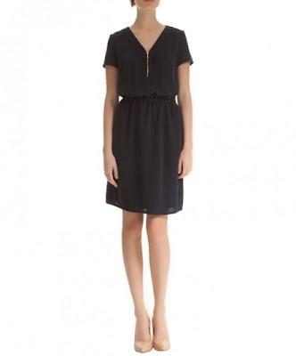 koton 2013 şifon siyah elbise, bol kesim, rahat günlük elbise