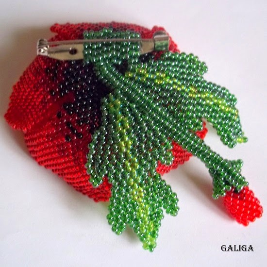 red poppy brooch with beads