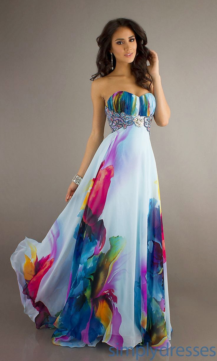 Long Strapless Print Evening Gown ~ Gorgeous