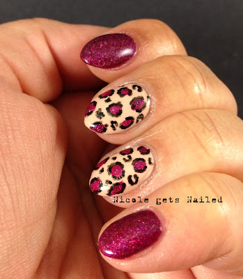 Purple and Nude Leopard Print Nails