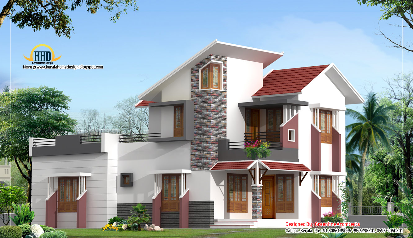 2d elevations modren houses interior design ideas for Contemporary indian house elevations