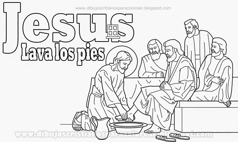 Bonito Colorear Los Pies De Jesús Lavando Ilustración - Dibujos Para ...