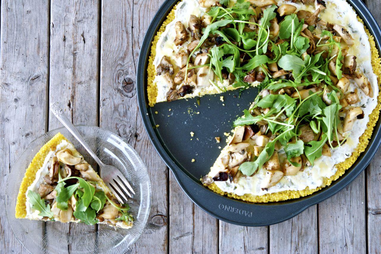 Millet-Crusted Wild Mushroom & Arugula Pizza
