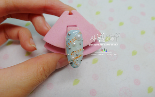 Stone nail art, denim nail art