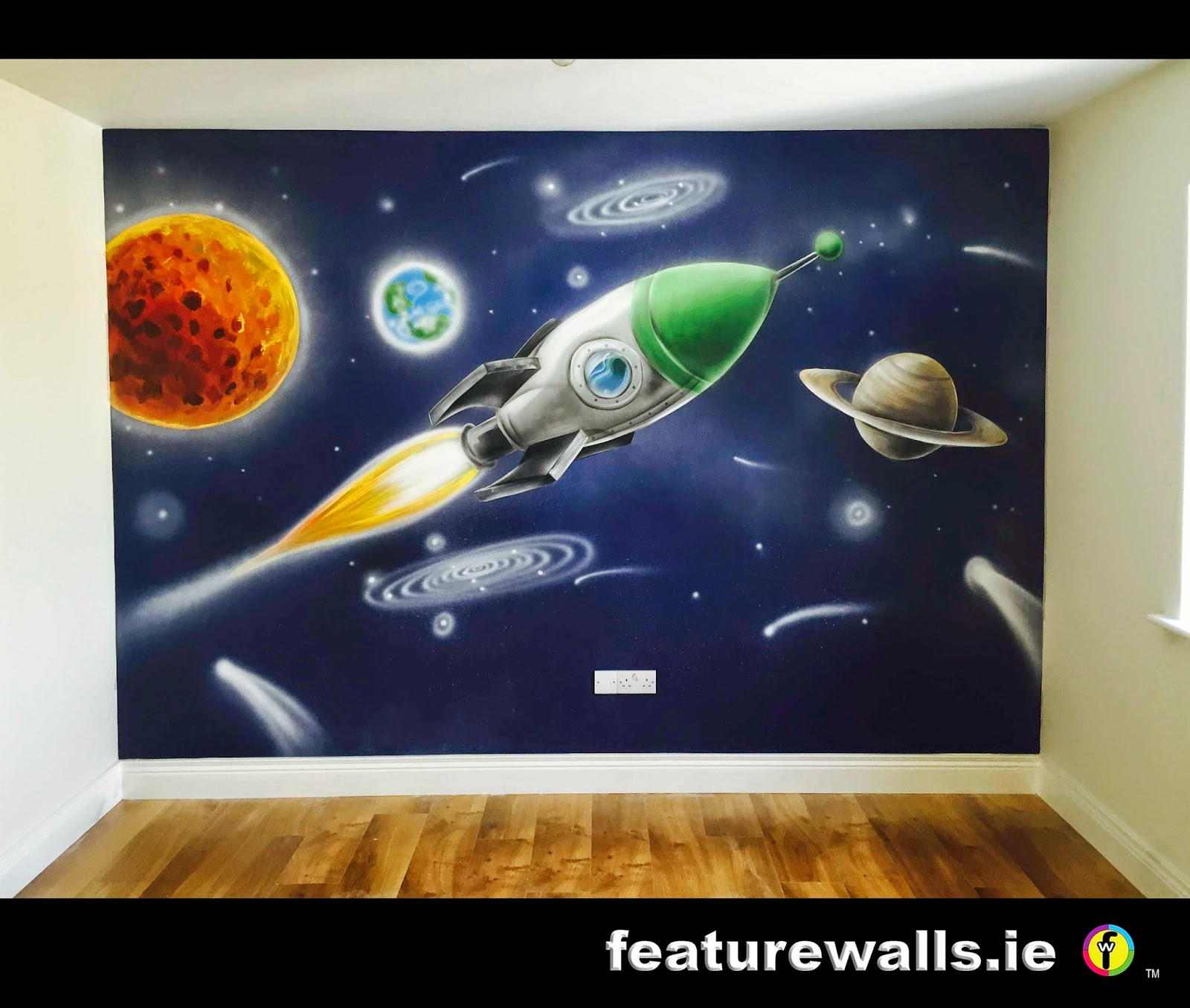 KIDS BEDROOM MURAL SPACE WALL HAND PAINTED MURAL BY FEATURE WALLS IRISH  MURAL ARTISTS Part 75