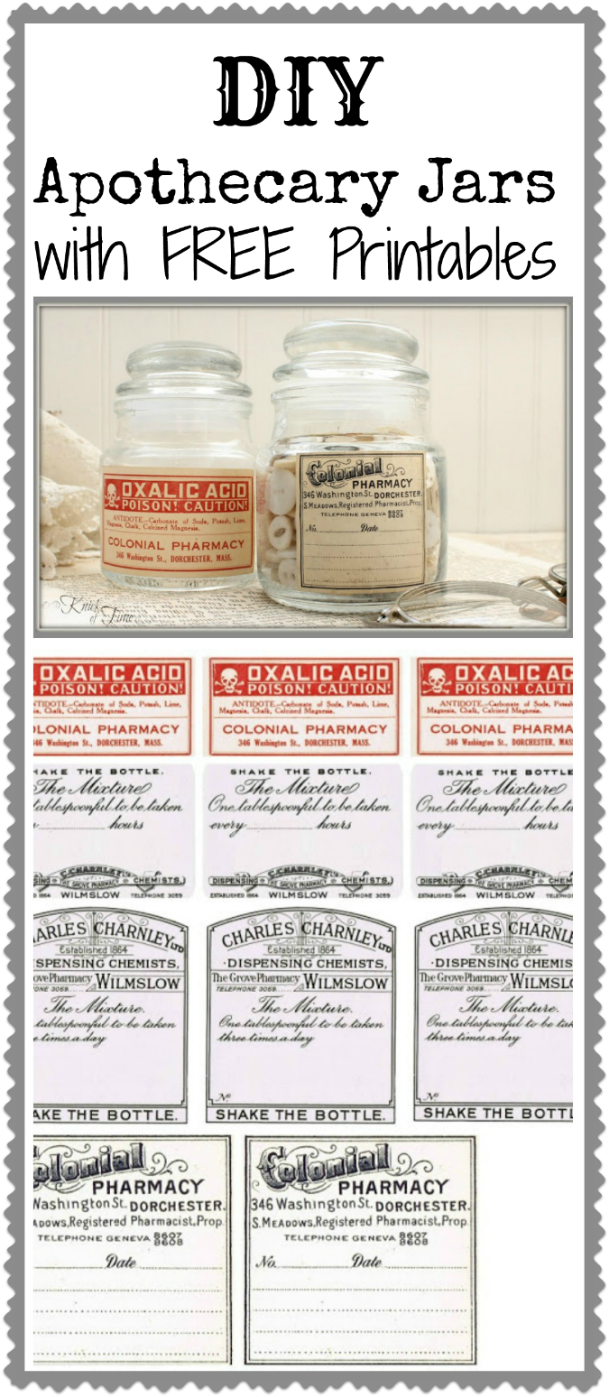 Antique Apothecary Jar with Free Printable Labels via knickoftimeinteriors.blogspot.com