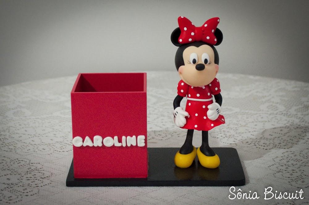 Porta Lápis Minnie Lembrancinhas Aniversário Biscuit