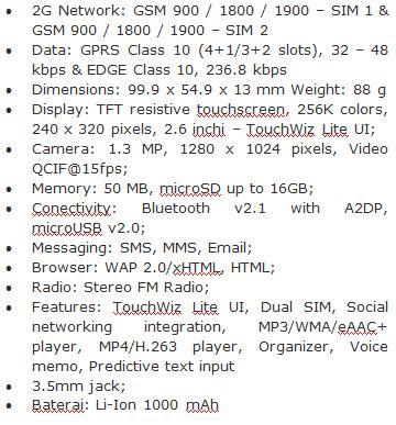 Spesifikasi HP Samsung Champ Duos