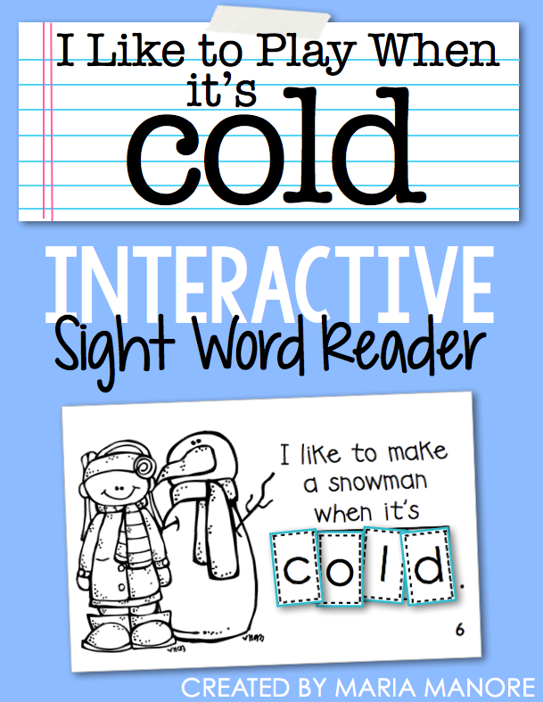 "emergent reader for sight word ""COLD"""