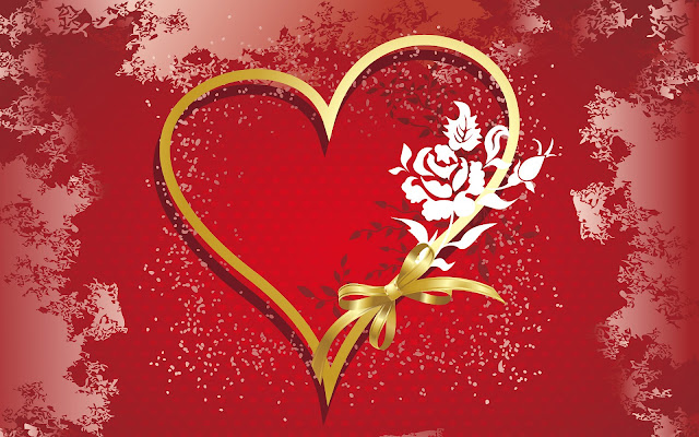 Afbeelding met een groot gouden liefdes hartje
